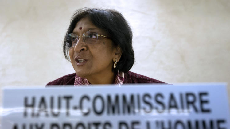 United Nations High Commissioner for Human Rights, South African Navanethem Pillay addresses her statement on the occasion of the Human Rights Day, at the European headquarters of the United Nations in Geneva, Monday, Dec. 10, 2012. (AP Photo/Keystone/Salvatore Di Nolfi)