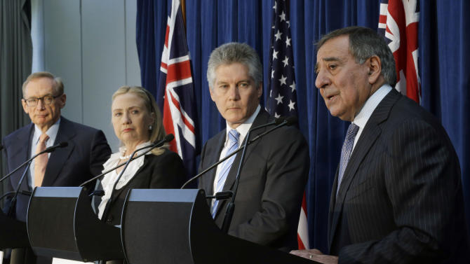 From left, Australian Foreign Minister Bob Carr, U. S. Secretary of State Hillary Rodham Clinton, Australian Defense Minister Stephen Smith, and U.S. Defense Secretary Leon Panetta take part in a news conference at the annual Australia-United States Ministerial Consultations, Wednesday, Nov. 14, 2012, in Perth, Australia. (AP Photo/Matt Rourke, Pool)