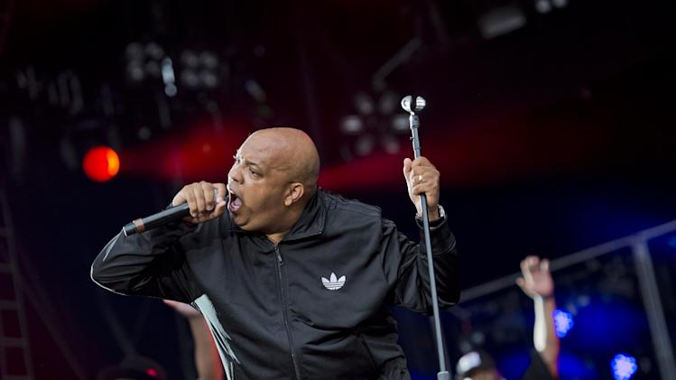 "Run DMC performing at the ""Made In America"" music festival on Sunday Sept. 2, 2012, in Philadelphia. (Photo by Drew Gurian/Invision/AP)"