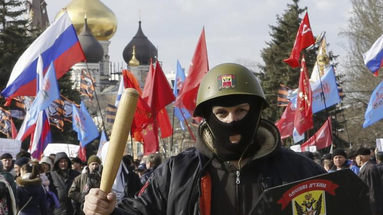 Demonstrators take part in a pro-Russian rally in Odessa