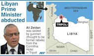 Map of Libya locating Tripoli, where gunmen seized Prime Minister Ali Zeidan