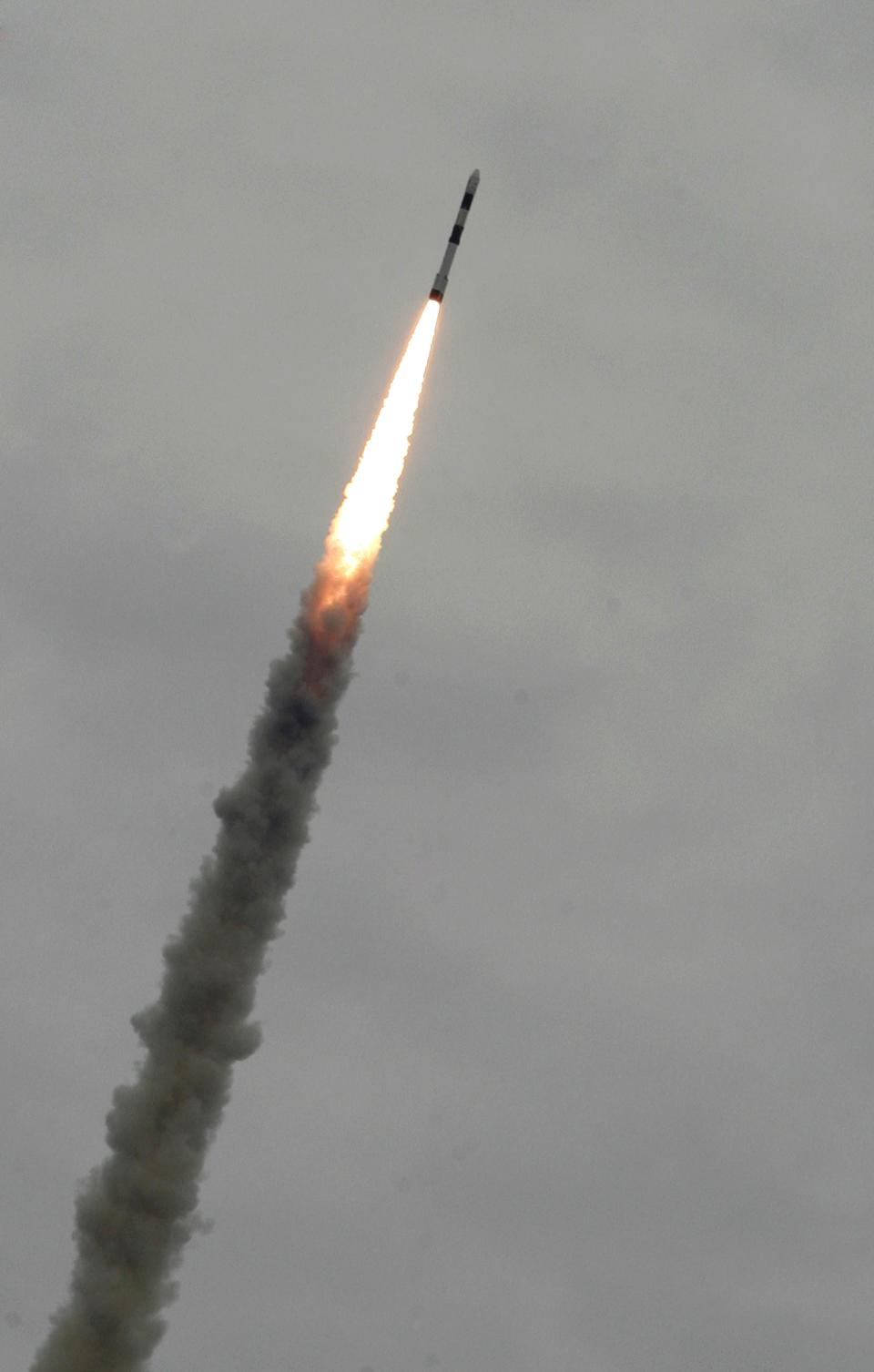 India's Polar Satellite Launch Vehicle PSLVC-21 lifts off  carrying one  French and one Japanese satellite from a launch pad in Sriharikota, southern India, Sunday, Sept. 9, 2012. The launch marked the 100th mission for the Indian Space Research Organization (ISRO). (AP Photo/Arun Sankar K.)