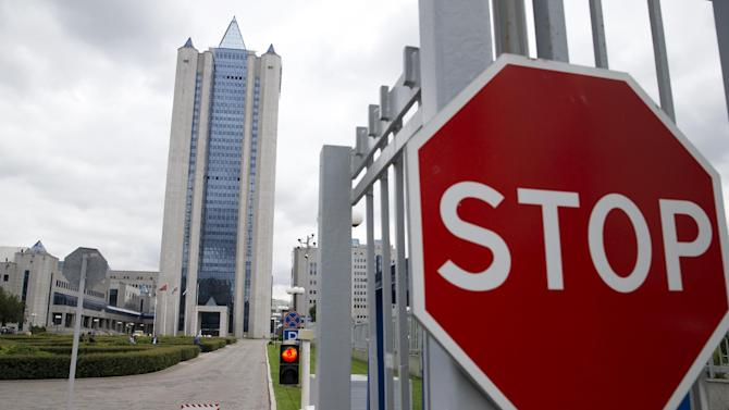 The headquarters of Russia's state-run natural gas giant Gazprom in Moscow, Russia, Monday, June 16, 2014. Russia said on Monday it would cut off gas supplies to Ukraine as a payment deadline passed and negotiators failed to reach a deal on gas prices. Gazprom spokesman Sergei Kupriyanov said Moscow had no legal grounds to supply Ukraine with any more gas because Ukraine had not paid its bills.(AP Photo/Pavel Golovkin)