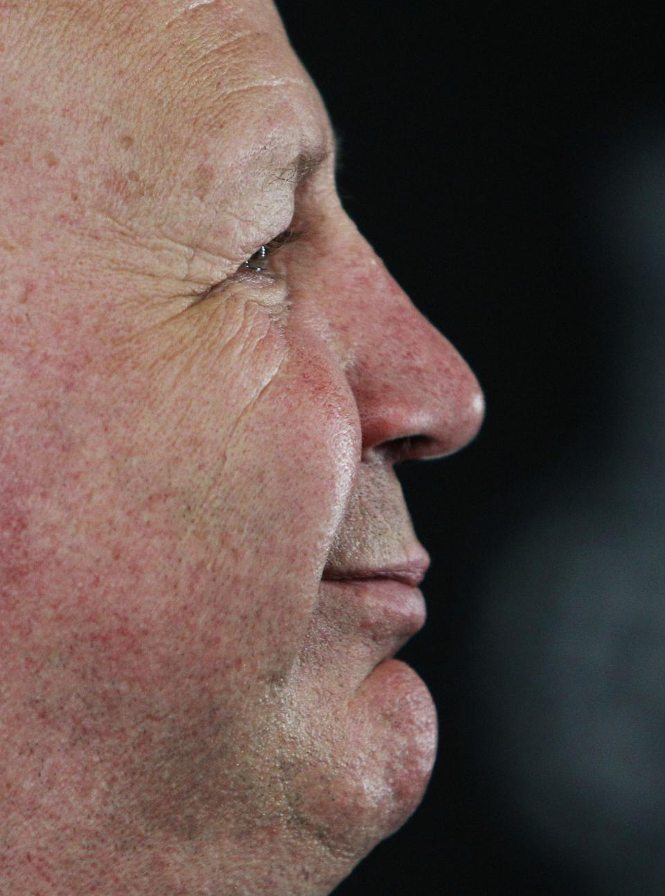 Boston Bruins head coach Claude Julien listens to a reporter's question during a media availability Sunday, June 23, 2013, in Boston. The Bruins will host the Chicago Blackhawks in Game 6 of the NHL hockey Stanley Cup Finals Monday night in Boston. (AP Photo/Bill Sikes)