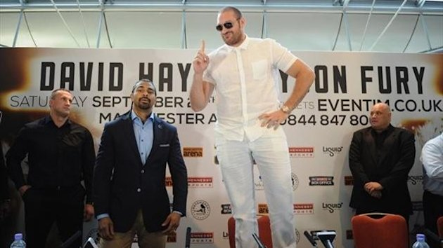 Fury and Haye clown around for the press as their fight is confirmed (Getty)