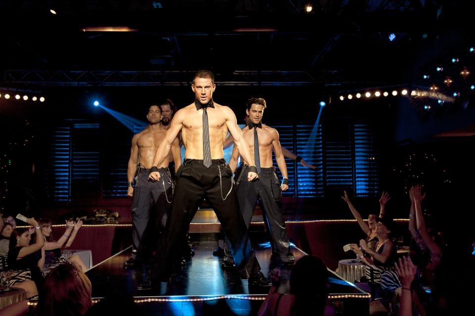 "This film image released by Warner Bros. shows, from left, Adam Rodriguez, Kevin Nash, Channing Tatum, and Matt Bomer in a scene from ""Magic Mike."" (AP Photo/Warner Bros., Claudette Barius)"