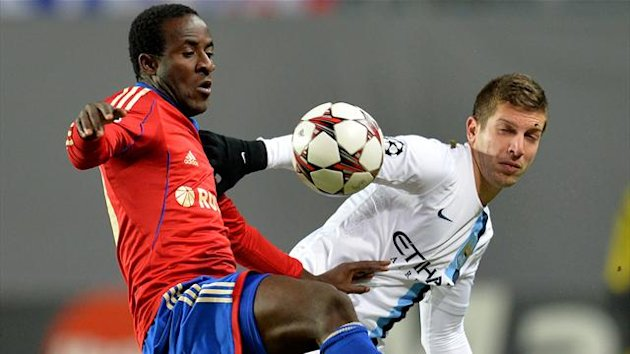 Seydou Doumbia (L) of PFC CSKA Moscow in action against Matija Nastasic of Manchester City (Getty Images)