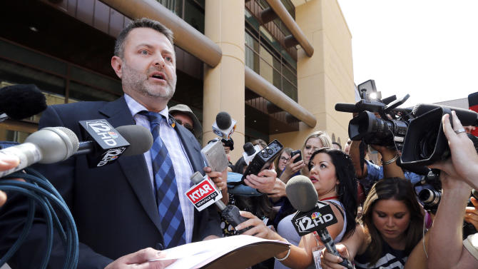 Attorney Jay Beckstead, who represents the siblings of Travis Alexander, speaks on the steps of Superior Court in Phoenix, Wednesday, May 8, 2013 after a guilty verdict in the trial of Jodi Arias, a waitress and aspiring photographer charged with killing her boyfriend, Travis Alexander, in Arizona in 2008. The four month trial included graphic details of their sexual escapades and photos of Alexander just after his death. (AP Photo/Matt York)