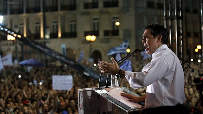 Greek Prime Minister Alexis Tsipras addresses an anti-austerity rally in Athens' Syntagma square