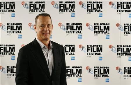 "Actor Tom Hanks attends a photocall for the film ""Captain Phillips"" during the BFI (British Film Institute) London Film Festival"