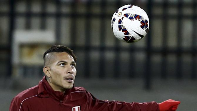 Peru's soccer team player Paolo Guerrero attends a training session in preparation for the Copa America third place match in Concepcion, Chile