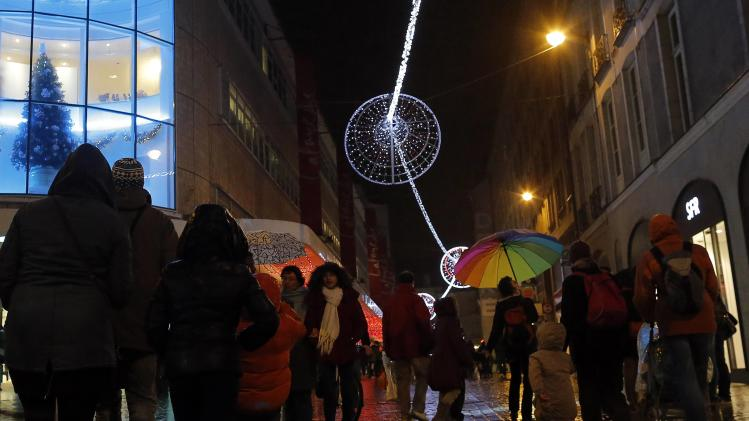 Christmas illuminations light a shopping street in downtown Nantes
