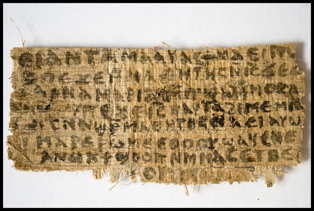 A previously unknown scrap of ancient papyrus written in ancient Egyptian Coptic is pictured in this undated handout photo obtained by Reuters September 18, 2012. The papyrus has four words written in Coptic that provide the first unequivocal evidence that within 150 years of his death, some followers of Jesus, believed him to have been married.   REUTERS/Karen L. King/Harvard University/Handout.    (UNITED STATES - Tags: RELIGION SOCIETY) NO SALES. NO ARCHIVES. FOR EDITORIAL USE ONLY. NOT FOR SALE FOR MARKETING OR ADVERTISING CAMPAIGNS. THIS IMAGE HAS BEEN SUPPLIED BY A THIRD PARTY. IT IS DISTRIBUTED, EXACTLY AS RECEIVED BY REUTERS, AS A SERVICE TO CLIENTS