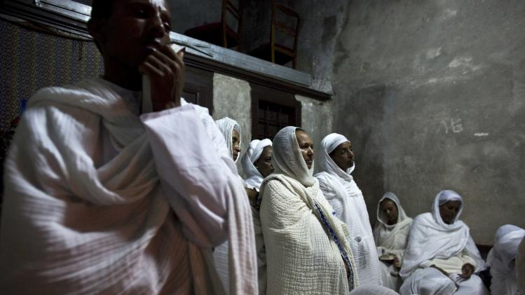 Ethiopian Orthodox worshippers attend the Holy Fire ceremony at the Ethiopian section of the Church of the Holy Sepulchre in Jerusalem's Old City