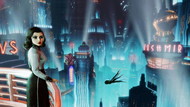 "This publicity photo provided by 2K Games/Irrational Games shows the video game ""BioShock Infinite."" Irrational Games creative director Ken Levine said Monday, July 29, 2013, that upcoming downloadable content for ""BioShock Infinite"" would be set in the underwater city of Rapture. (AP Photo/2K Games/Irrational Games)"
