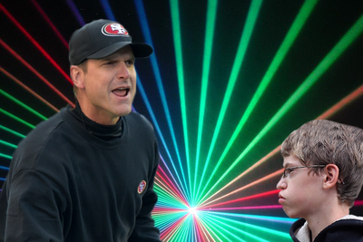 Jim Harbaugh won laser tag by hunting a 10-year-old