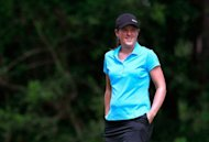Karin Sjodin of Sweden walks to the seventh tee during the second round of the Mobile Bay LPGA Classic at the Crossings Course at the Robert Trent Jones Trail at Magnolia Grove, April 27, in Mobile, Alabama. Sjodin finished with an eight-under 136 to join a group of four in second place
