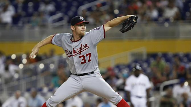 Washington Nationals' Stephen Strasburg delivers a pitch during the first inning of a baseball game against the Miami Marlins, Tuesday, Aug. 28, 2012, in Miami. (AP Photo/Wilfredo Lee)