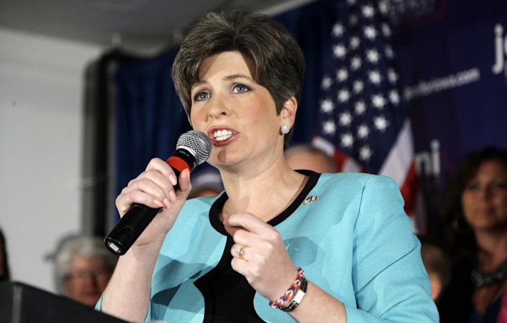 State Sen. Joni Ernst speaks to supporters at a primary election night rally after winning the Republican nomination for the U.S. Senate, Tuesday, Jun...