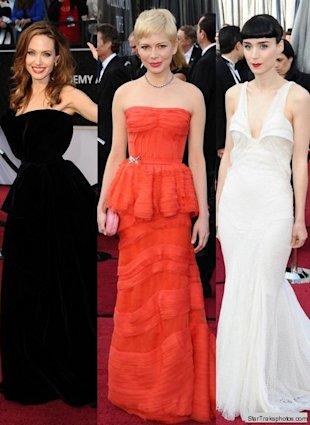 angelina jolie michelle williams rooney mara oscars 2012