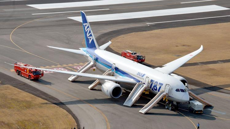 """An All Nippon Airways flight sits at Takamatsu airport in Takamatsu, western Japan after it made an emergency landing Wednesday, Jan. 16, 2013. The flight to Tokyo from Ube in western Japan landed at the airport after a cockpit message showed battery problems, in the latest trouble for the Boeing 787 """"Dreamliner."""" (AP Photo/Kyodo News) JAPAN OUT, MANDATORY CREDIT, NO LICENSING IN CHINA, HONG KONG, JAPAN, SOUTH KOREA AND FRANCE"""