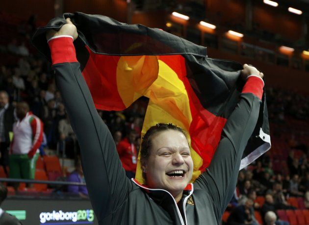 Schwanitz of Germany celebrates her first place in the Shot Put Women Final at the European Athletics Indoor Championships in Gothenburg