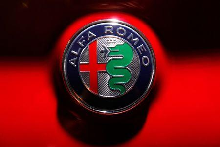 The Alfa Romeo log is pictured during the Los Angeles Auto Show in Los Angeles