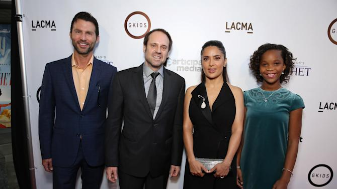 """Jonathan King, Executive Producer and EVP, Narrative Film at Participant Media, Jeff Skoll, Executive Producer and Founder/Chairman of Participant Media, Producer Salma Hayek and Quvenzhane Wallis seen at Participant Media Special Los Angeles Screening of """"Kahlil Gibran's The Prophet"""" held at LACMA's Bing Theater on Wednesday, July 29, 2015, in Los Angeles. (Photo by Eric Charbonneau/Invision for Participant Media/AP Images)"""