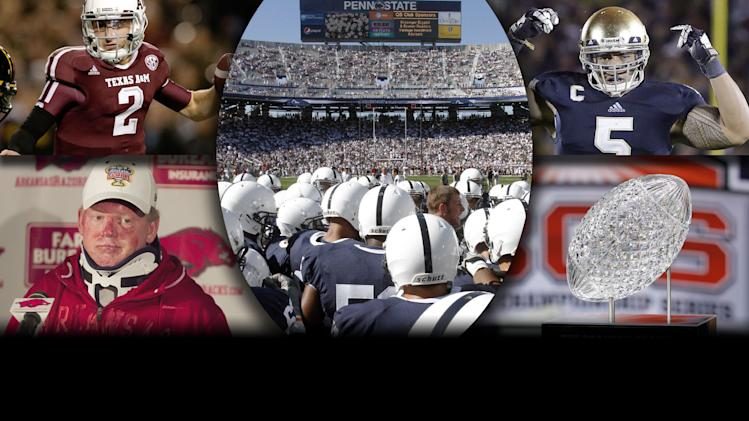 2012 Year in Review - College football: The year's top stories featured Manti Te'o, Bobby Petrino, Johnny Manziel, the BCS playoff and Penn State.