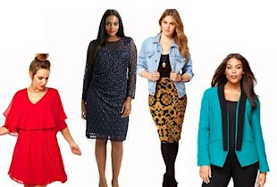 from left to right: dress with cape, $70.36, asos curve, my.luckymag.com; lace cocktail dress, $488, david meister, my.luckymag.com; pencil skirt in baroque chain, $21.66, asos curve, my.luckymag.com; shawl-collar tuxedo blazer, $74, INC International Concepts, macys.com