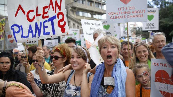 "Actress Emma Thompson and her daughter Gaia take part in the ""People's Climate March"" in central London"