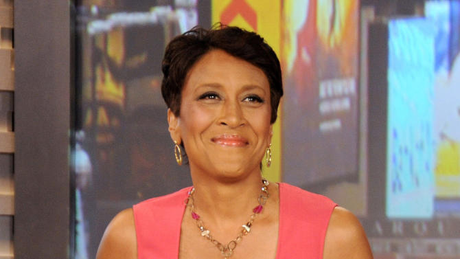 """FILE - This Aug. 20, 2012 file photo released by ABC shows co-host Robin Roberts during a broadcast of """"Good Morning America,"""" in New York. Roberts has come home from the hospital three weeks after undergoing a bone marrow transplant. After thanking her doctors and nurses and singing """"Amen,"""" the """"Good Morning America"""" host began the next stage of recovery from MDS, a blood and bone marrow disease. Her sister was the donor for her bone marrow. (AP Photo/ABC, Donna Svennevik, file)"""