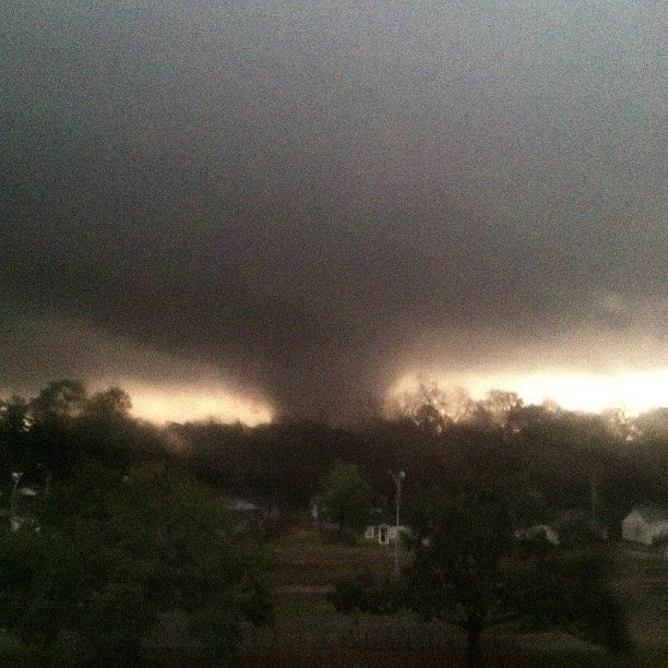 This photo provided by Jordan Holliman shows a tornado moving through Hattiesburg, Miss., Sunday, Feb. 10, 2013. Emergency officials say an apparent tornado has caused significant damage in Hattiesbur