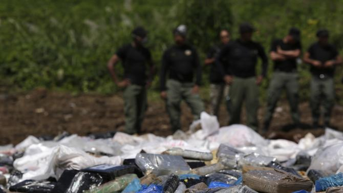 Packages of confiscated drugs are seen before being incinerated by anti-narcotics police in Panama City