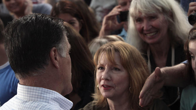 Republican presidential candidate, former Massachusetts Gov. Mitt Romney greets supporters during a campaign event at the Ross County Court House, Tuesday, Aug. 14, 2012 in Chillicothe, Ohio.  (AP Photo/Mary Altaffer)