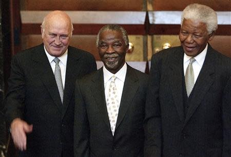 File photo of South African President Thabo Mbeki and former Presidents F.W. de Klerk and Nelson Mandela in Cape Town