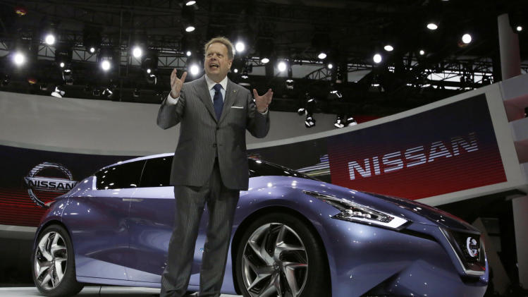 Nissan's Executive Vice President Andy Palmer unveils a Nissan Friend-ME concept car at the Shanghai International Automobile Industry Exhibition (AUTO Shanghai) media day in Shanghai, China, Saturday, April 20, 2013. (AP Photo/Eugene Hoshiko)