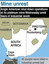 &lt;p&gt;Map showing Rustenberg in South Africa, location of an Anglo American platinum mine that was shut down as fears rose that widening strikes are spiralling into an industry revolt. South African police have fired rubber bullets, raided worker hostels and seized traditional weapons at platinum giant Lonmin in a crackdown on rising unrest in the key mining industry.&lt;/p&gt;