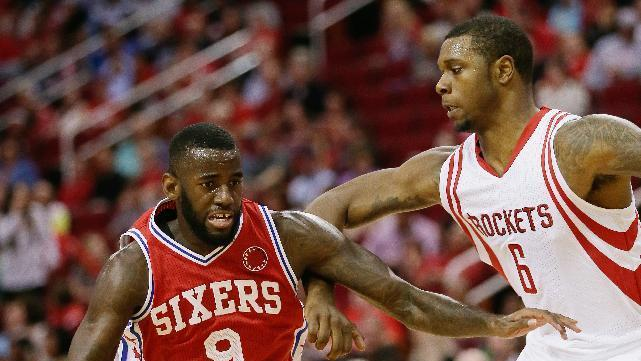 Philadelphia 76ers guard JaKarr Sampson (9) drives to the basket on Houston Rockets forward Terrence Jones (6) in the first half of an NBA basketball game Friday, Nov. 27, 2015, in Houston. (AP Photo/Bob Levey)