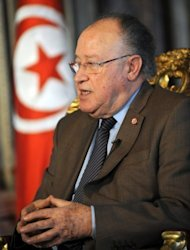 Tunisian National Constituent Assembly speaker Mustapha Ben Jaafar gives an exclusive interview to AFP on October 11, 2012 in Tunis. A key proposal by Tunisia's ruling Islamist party to outlaw blasphemy in the new constitution, which stoked fears of creeping Islamisation, is to be dropped from the final text, Jaafar told AFP