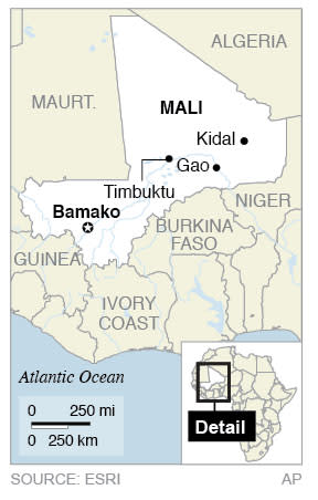 Map locates Mali and key sites in northern Mali