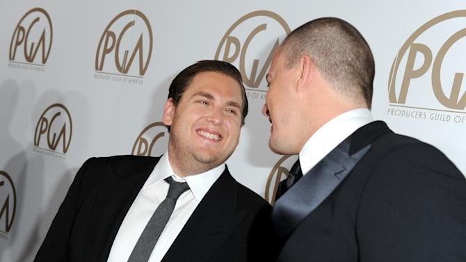 Jonah Hill, left, and Channing Tatum arrives at the 24th Annual Producers Guild (PGA) Awards at the Beverly Hilton Hotel on Saturday Jan. 26, 2013, in Beverly Hills, Calif. (Photo by Jordan Strauss/Invision for The Producers Guild/AP Images)