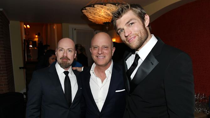 "IMAGE DISTRIBUTED FOR STARZ -Creator Steven S. DeKnight, left, Chris Albrecht, chief executive of STARZ, center, and Liam McIntyre pose together at the after party for the premiere of ""Spartacus: War of the Damned"" on Tuesday, Jan. 22, 2013 in Los Angeles. ""Spartacus: War of the Damned"" premieres Friday, Jan. 25 at 9PM on STARZ. (Photo by Matt Sayles/Invision for STARZ/AP Images)"