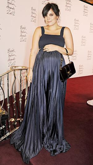 PICTURE: Pregnant Lily Allen Shows Off Baby Bump in Silky Gown at British Fashion Awards