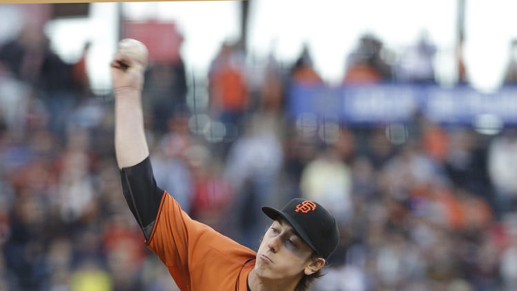 San Francisco Giants starting pitcher Tim Lincecum throws in the second inning of their baseball game against the Arizona Diamondbacks Friday, July 11, 2014, in San Francisco. (AP Photo/Eric Risberg)
