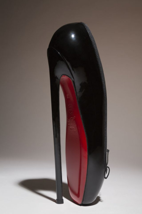 "In this undated photo provided by the Fashion Institute of Technology shows Christian Louboutin's ""Fetish Ballerine"" pump. The shoe is on display at the ""Shoe Obsession"" exhibit at The Museum at the F"