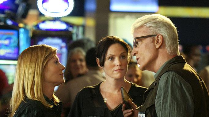 "Ted Danson on-set as lead investigator D.B. Russell on ""CSI: Crime Scene Investigation."""
