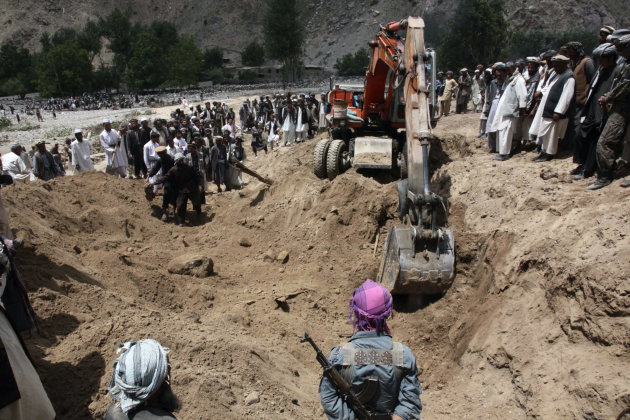 A crane is used to search for victims of Monday's earthquake in Baghlan, north of Kabul, Afghanistan on Tuesday, June 12, 2012. Scores of people are feared entombed under tons of rock and stone that buried a village in a landslide after two earthquakes in northern Afghanistan, authorities said Tuesday. A single bulldozer worked to uncover the bodies of those killed in Monday's landslide after the earthquakes struck the Hindu Kush region, but villagers fear there will be no survivors. (AP Photo/Jawed Dehsabzi)