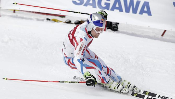 Pinturault of France skis in the first run of the men's giant slalom at the Alpine Skiing World Cup in Yuzawa town