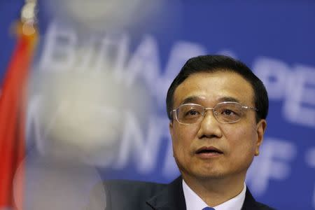 China's Premier Li speaks during a news conference in Belgrade